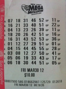 Mega Million Lottery Ticket